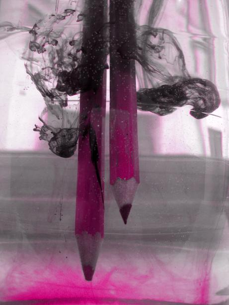 pencils underwater