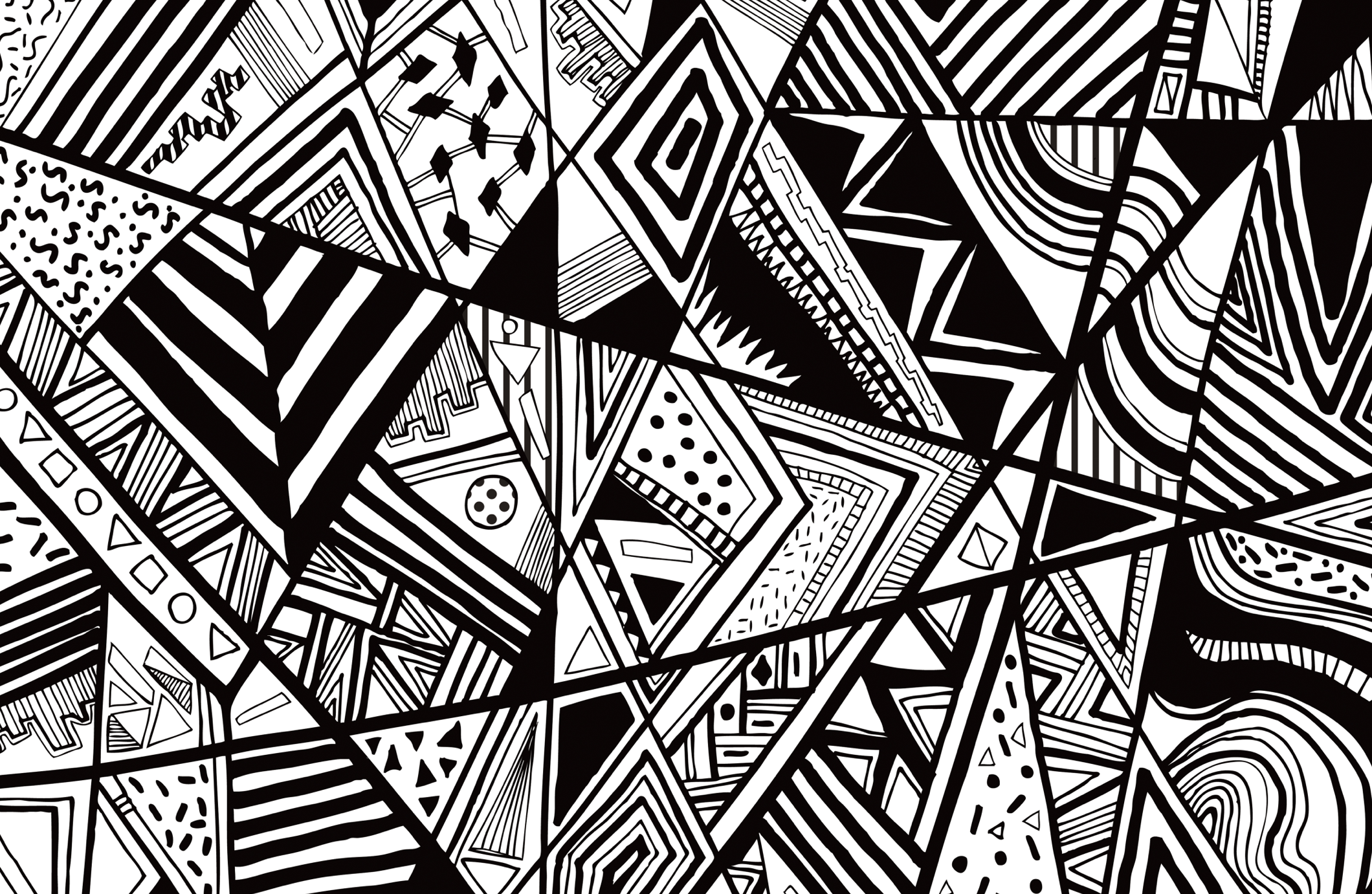 Line Work Art : Black white abstract pattern vector line drawing graphic
