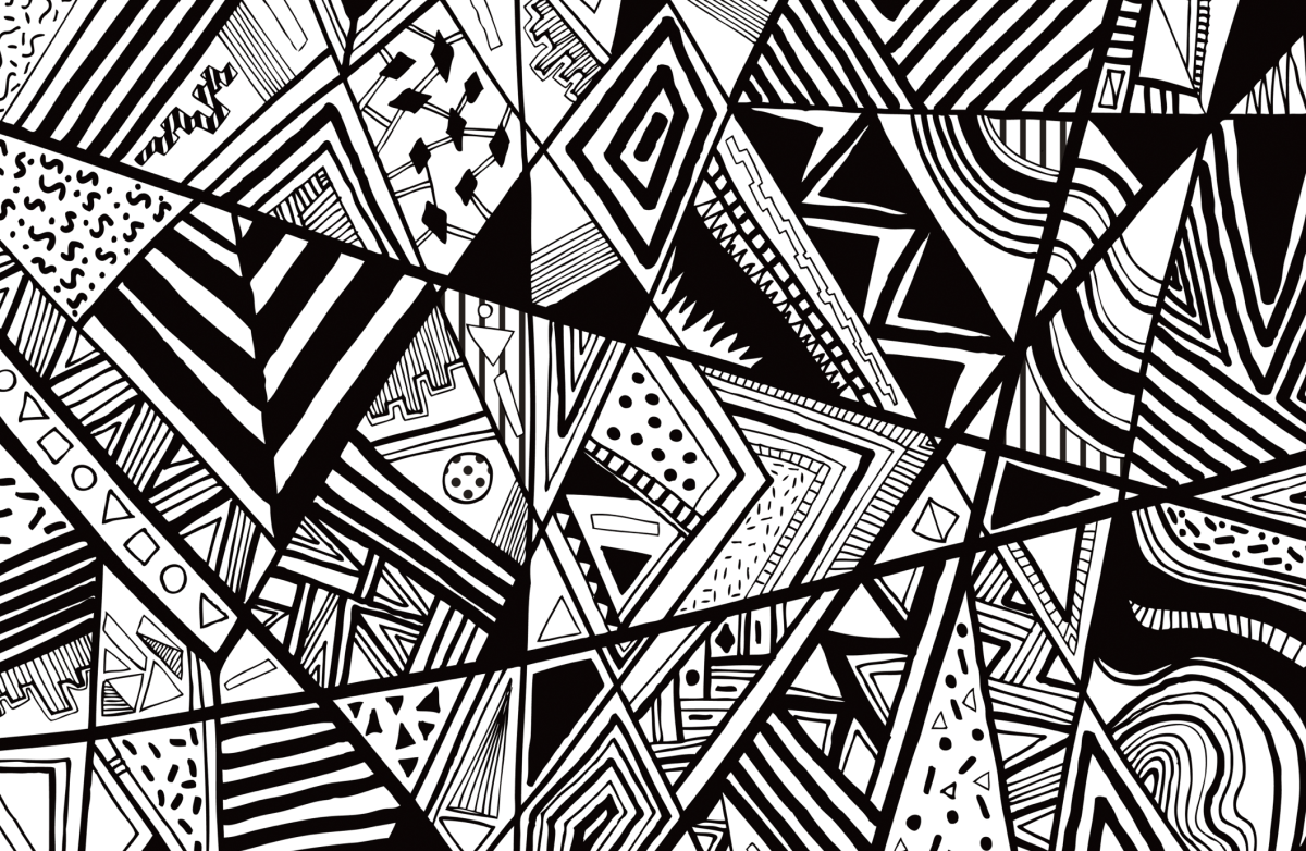 Black white abstract pattern vector line drawing graphic ...