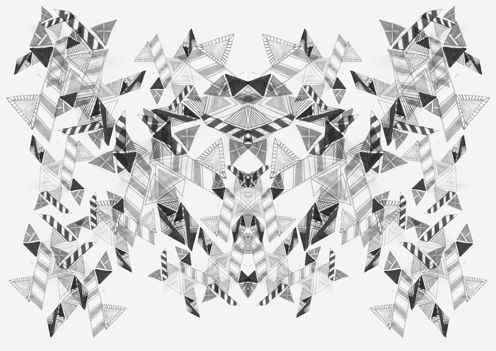 KALEIDOSCOPIC dreamy abstract triangles pattern textile fabric fashion style vibrant repeat artist freelance fashion print trent SS14 abstract summer