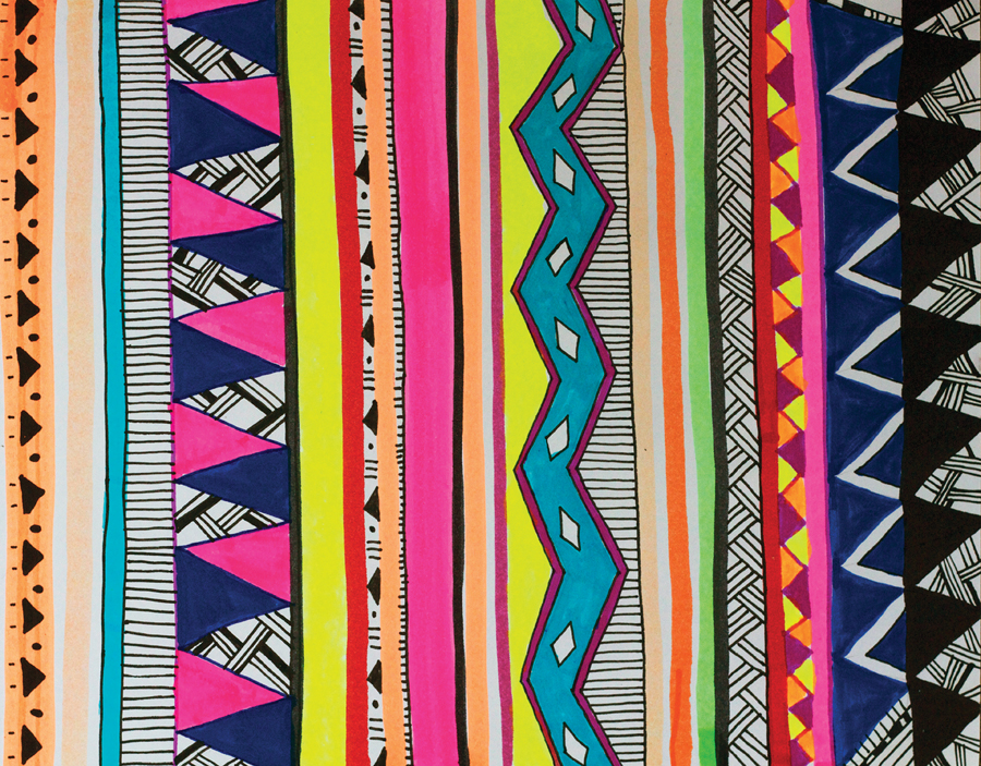 Custom Card Template print design : GHHORIZONTAL New tribal geometric Pattern : Vasare Nar Art ...