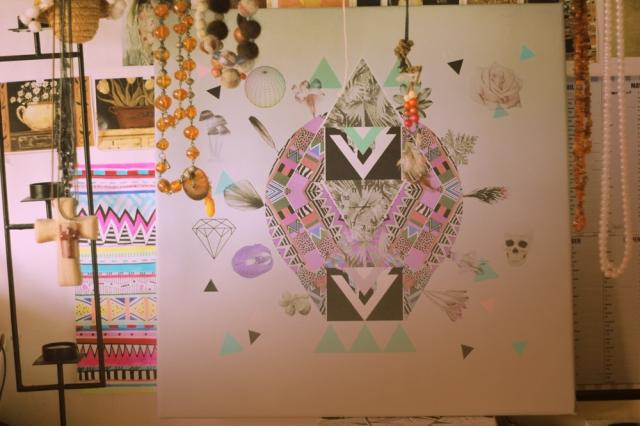 boho art canvas watch home decor luscious insanity art print illustration vasare nar hipster triangles diamond skull art society6 buy geometric 2013 new year mayans clock flowers native aztec tribal tumblr