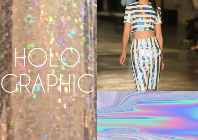 holographic-colour-opalescent-nacreous-pearlescent-iridescent inspiration fashion pattern trend 2013 2014 art textile vogue 1  SS13 Christopher Kane, Hugo Boss,  and Stella McCartney SS13 Resort collections, Theyskens Theory Dior Jonathan Saunders
