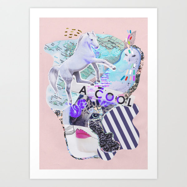 A cool art print unicorn horse pastel pink cool art design mixed media collage vasare nar map vintage