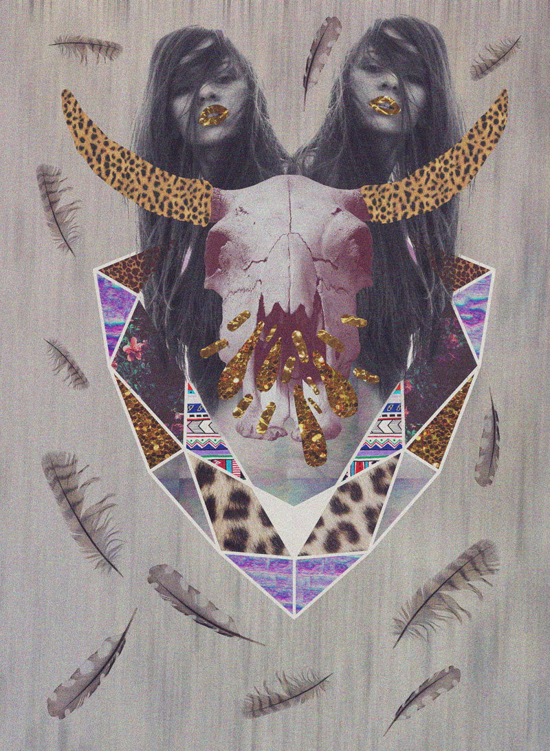 fashion-collage-geometric-art-artists-portfolio-boho-triangle-aztec-tribal-native-tumblr-feathers-girl-stunning-topshop-urban-outfitters-magazine-trned-2014-2015