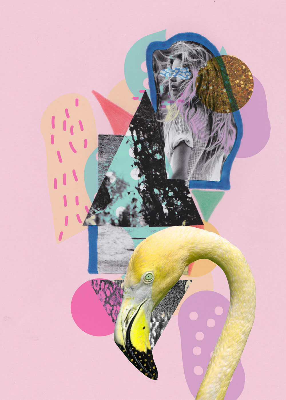 FLAMINGO-LAND-ART-PRINT-COLLAGE-MIXED-media-design-vasarenar-TROpical-artist-shutterstock-design-creative-cool-appareal-topshop-urban-outfitters-kitch-hipster-pink-pastel-tumblr-