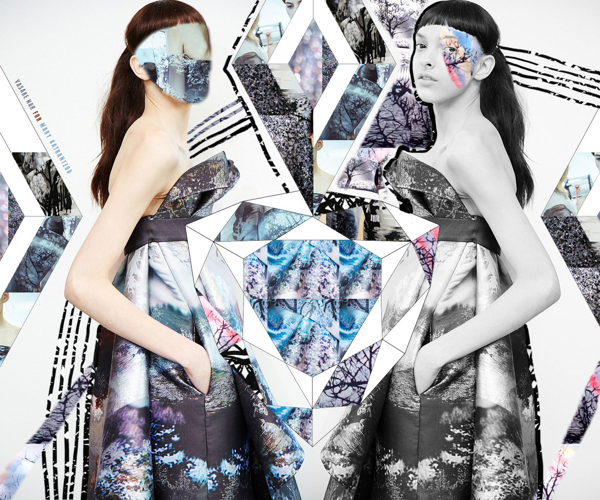 Mary katrantzou aw13 collage vasare nar art fashion for Nyu tisch fashion design