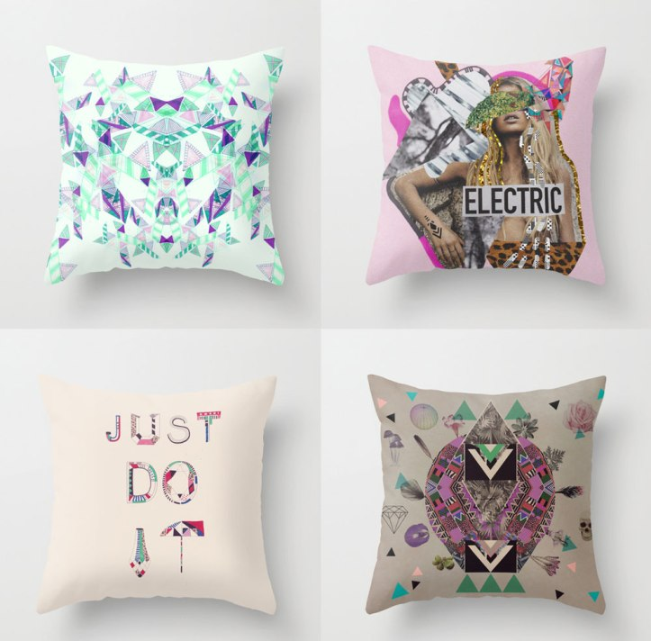 pillow- typography nike just do it skull diamond art-design-psychedelic-collage-home-decor-interior-society6-hipster-creative-pattern-urban-outfitters-deny-designs-inspired-artistic