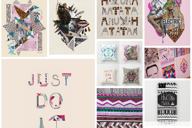 art design portfolio illustration pattern collage mixed media just do it nike urban outfitters topshop inspiration magazine vasarenar designer aztec navajo trend 2014 2015 summer textile tumblr facebook