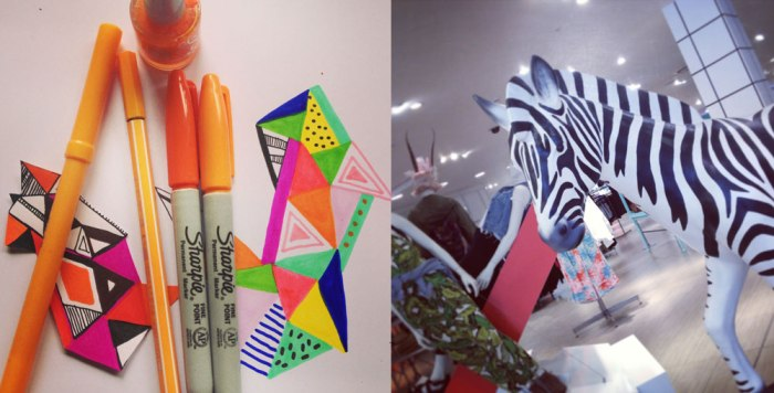 Topshop-zebra-cool-interior-display-fashion-drawing-triangles-geometric-awesome-sharpie-markers-inspiration-neon-colour-
