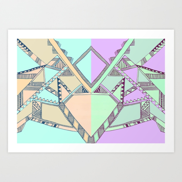 aztec tribal native navajo print illustration drawing iat purple electirc cool artistic society6