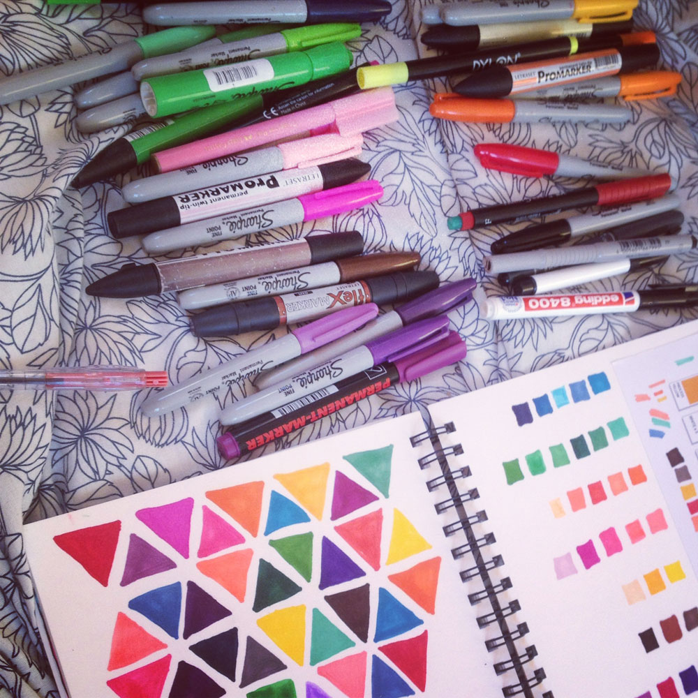 Colour Testing Sharpies Markers Drawing Design Illustration