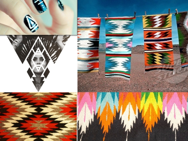 indian art ikat navajo feather boho aztec african rug print geometric inspiration moodboard magazine trend 2015 2016 summer