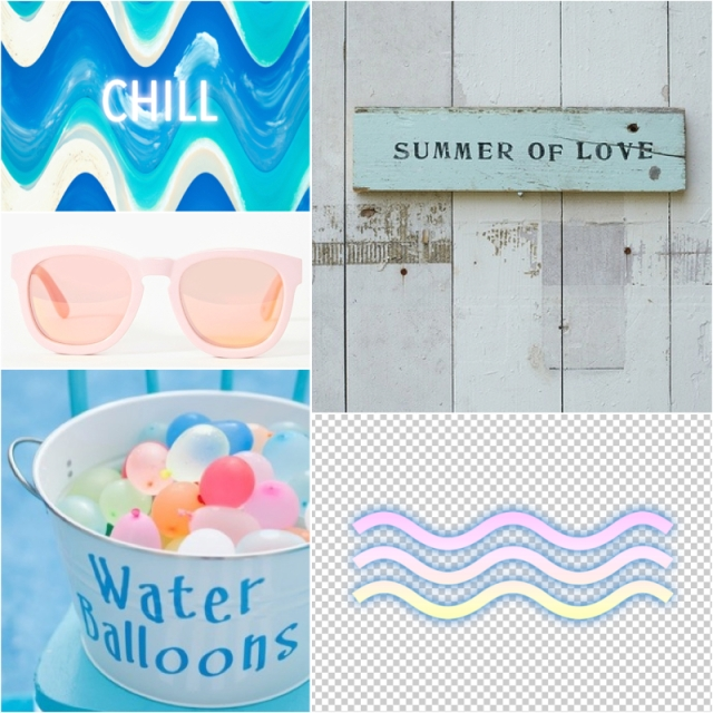 summer of typography love layout inspiration pastel baloons sunglasses magazine tumblr facebook waves electric blue