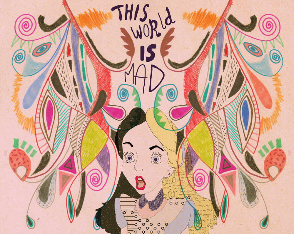 Alice In Wonderland Alice Magic World Illustration Typography Drawing This Worl Is Mad Typography Tumblr Facebook Vasare Nar Disney Cool Creative Hipster Topshop Urban Outfitters Society6 Art Print Pattern Aztec Tribal Artist Freelance Vasare Nar Art