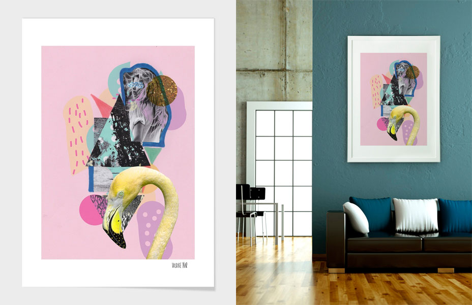 Art Design Curioos Artist Flamingo Wall Decor Home Dorm Print Decoration Livingroom Elle Pink Vasarenar Collage Mixed Media Designer Freelancer Portfolio