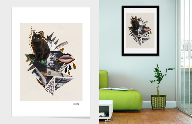 art-design-curioos-artist-flamingo-wall-decor-home-dorm-print-decoration-livingroom-elle-pink-vasarenar-collage-mixed-media-designer-freelancer-portfolio-poster-cool-awesome-hipster-tumblr--cat-kitten-