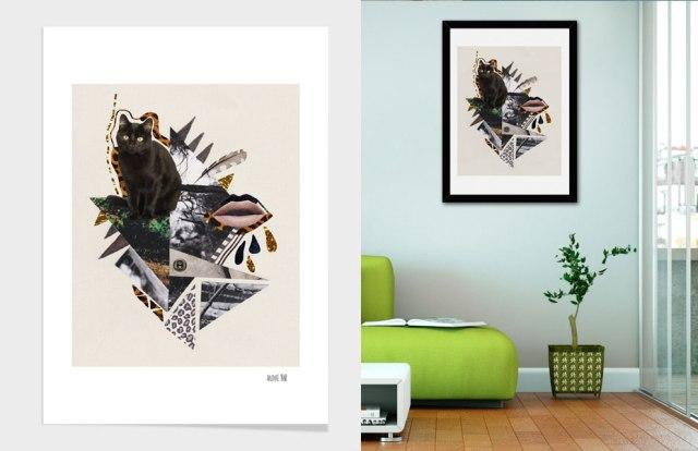 art-design-curioos-artist-flamingo-wall-decor-home-dorm-print-decoration-livingroom-elle-pink-vasarenar-collage-mixed-media-designer-freelancer-portfolio-poster-cool-awesome-hipster-tumblr--cat-kitten-