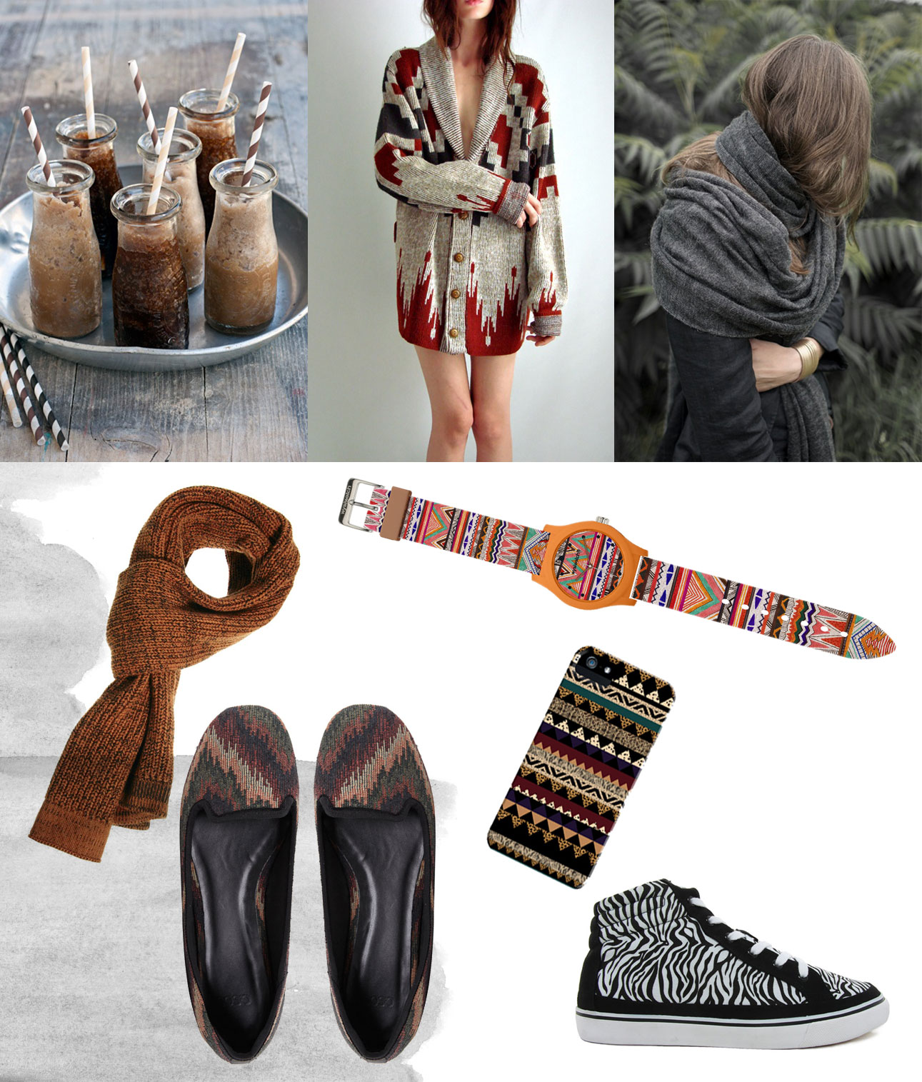 Fashion Inspiration Moodboard Fall Autumn Style Aztec Tribal Navajo Iphone Case Watch Motif