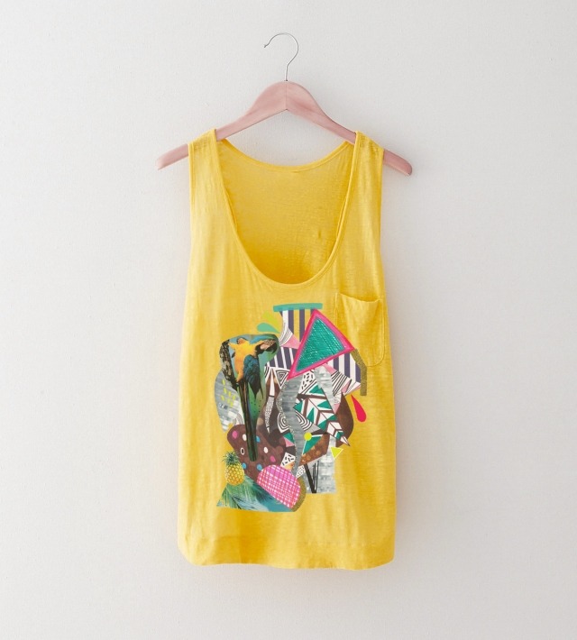 tropical macaw tee fashion apparel style cool vest tropical vasare nar fashion topshop urban outfitters summer 2015 inspiration yellow