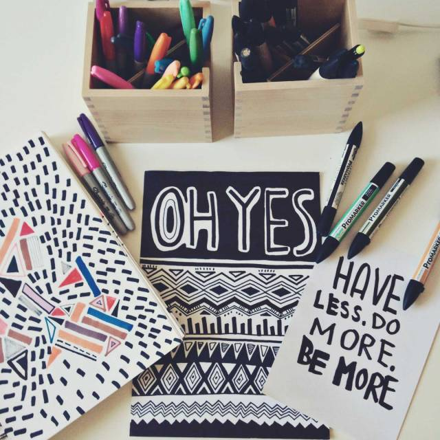 drawing-illustration-print-pattern-cool-vasare-nar-instagram-pattern-aztec-tribal-native-graphic-textile-quote-tee-slogan-topshop-urban-outfitters-studio-space-inspiration-graphic-black-white-sharpeis-markers-how-to-draw-tutorial-