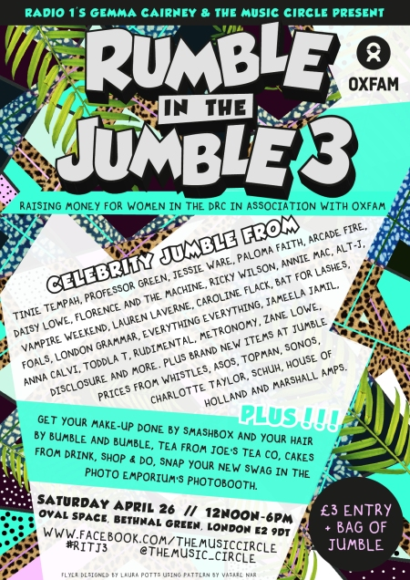 Rumble in the jumble oxfam radio 1 Gema Ciarney the music circle charity even fashion style tropical poster graphic design by Laura Potts london RITJ3 Arcade fire ASOS TOPMAN Vampire weekend layout cool