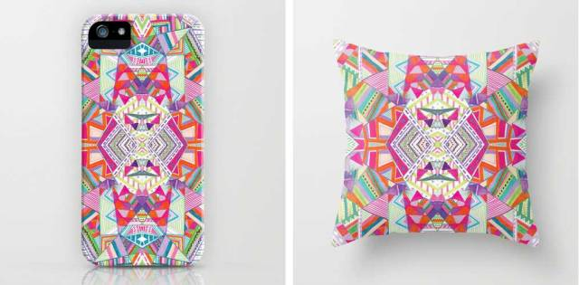 aztec-tribal-native-navajo-geometric-native-kaleidoscopic-textile-fashion-print-trend-style-summer-2015-2016-urban-outfitters-topshop-freelance-designer-portfolio-kitch-colourful-bold-ikat-peruvian-triangles-vasare-nar iphone case pillow home decor