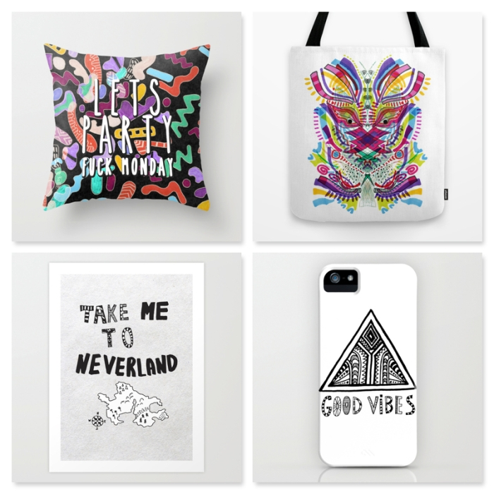 SOCIETY6 PROMOTION free shipping art design illustration vasarenar take me to neverland cool creative drawing alice in wonderland good vibes typography