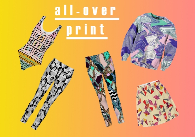 all over print apparel fashion style trend artist threads jumper sweatshirt weather 3d aztec distorted fashion moodboard magazine spread tropical colours textile print