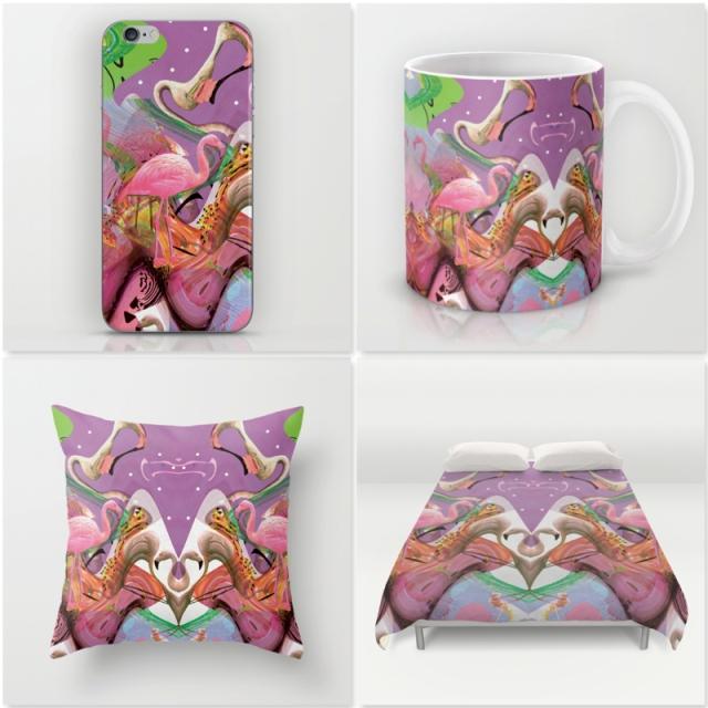 flamingo-art-graphic-design-mixed-media-artwork-graphic-cool-abstract-tumblr-freelance-designer-studio-pink-3d-distorion-textile-print-design society6 iphone case duvet cover pillow mug home decor