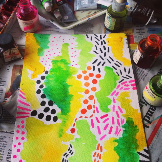 textile-print-pattern-watercolours-freelance-print-designer-textile-creator-vasare-nar-summer-spring-fashion-trend-2015-2016-2017-inspiration-topshop-urban-outfitters-colourfull-swimwear-clothing watercolour green yellow