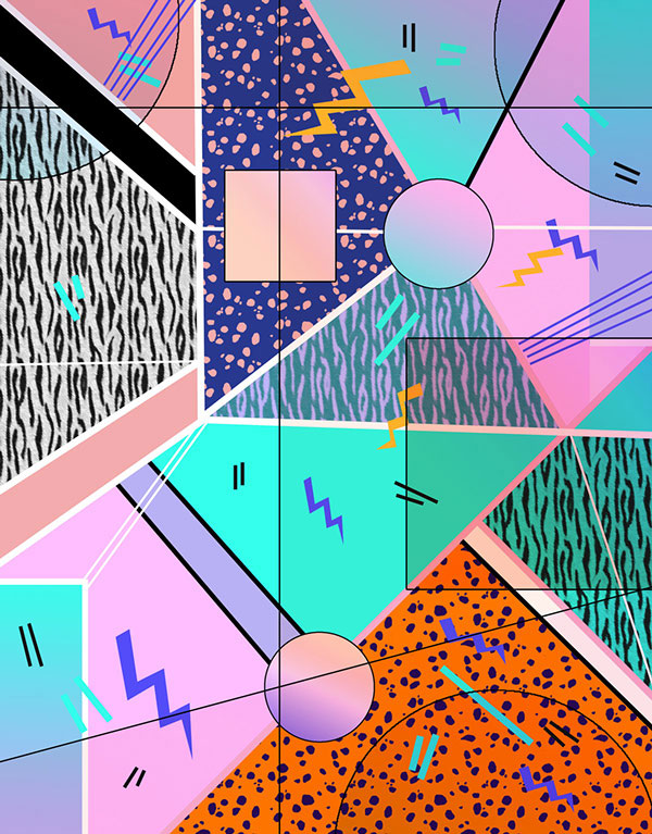 Line Art Design Trend : Pattern art design illustation graphic colourful bold