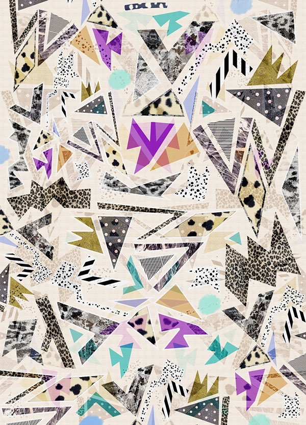 pattern art design illustation graphic colourful bold textiles 90s art bold contemporary patternbank vasare nar fashion trend 2017 2016 summer spring cool tumblr  triangles