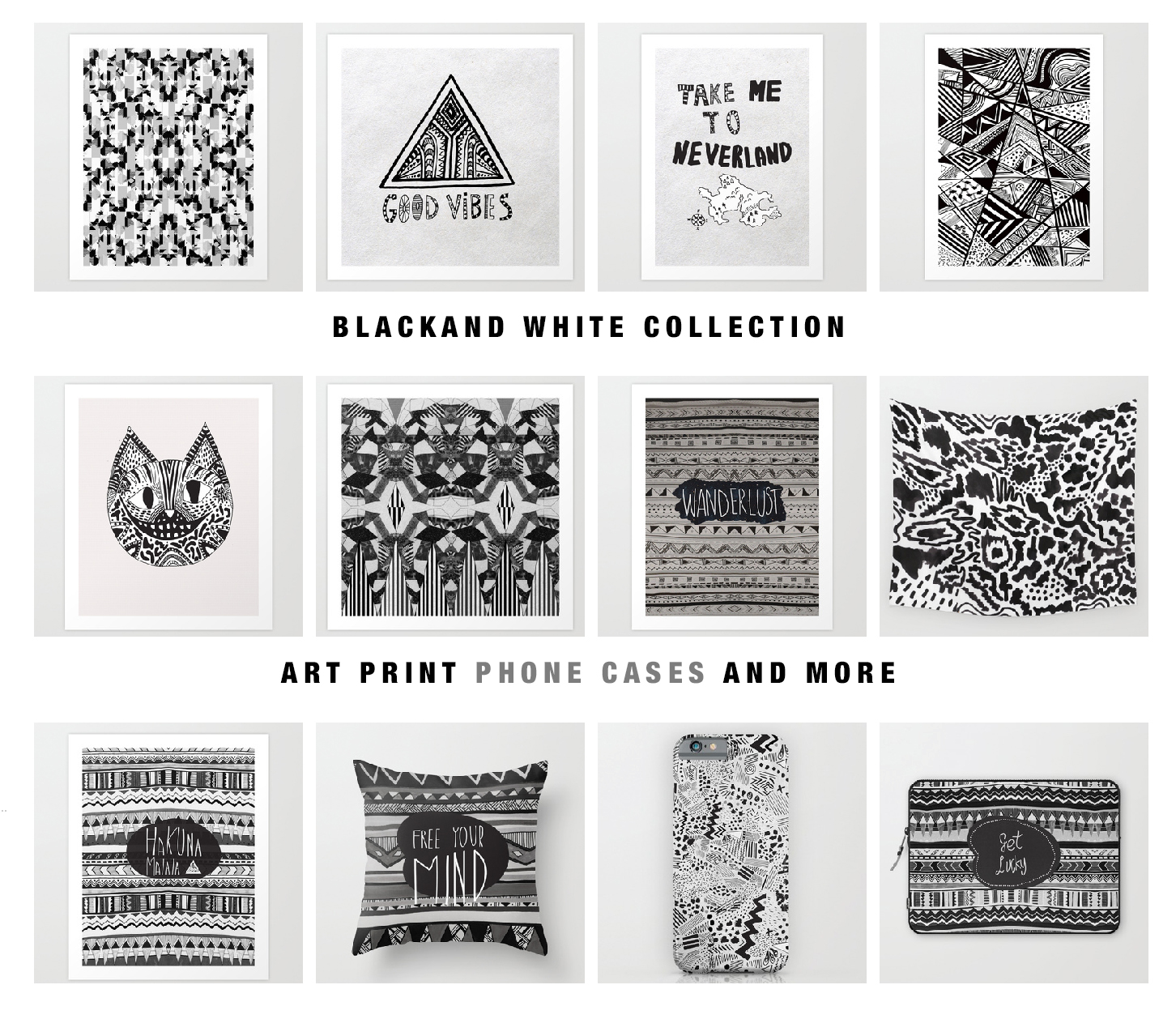 print pattern axtec tribal trend 2018 2017 typography graphic wanderlust art prints phone cases and more society6 black and white collection