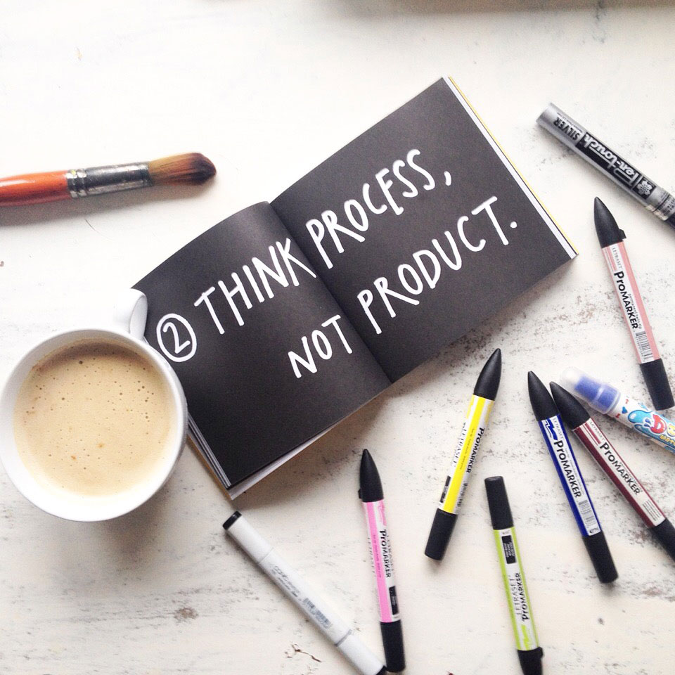 think-process-not-product-book-austin-kleon-inspiration-motivation-book-typography-promarkers-artist-review-art
