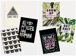 JUNIQE VASARE NAR GIFT Card set typography quote motivation cat tropical