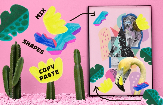 Hand Drawn Art Mix Modern 90s Shapes Preview collage